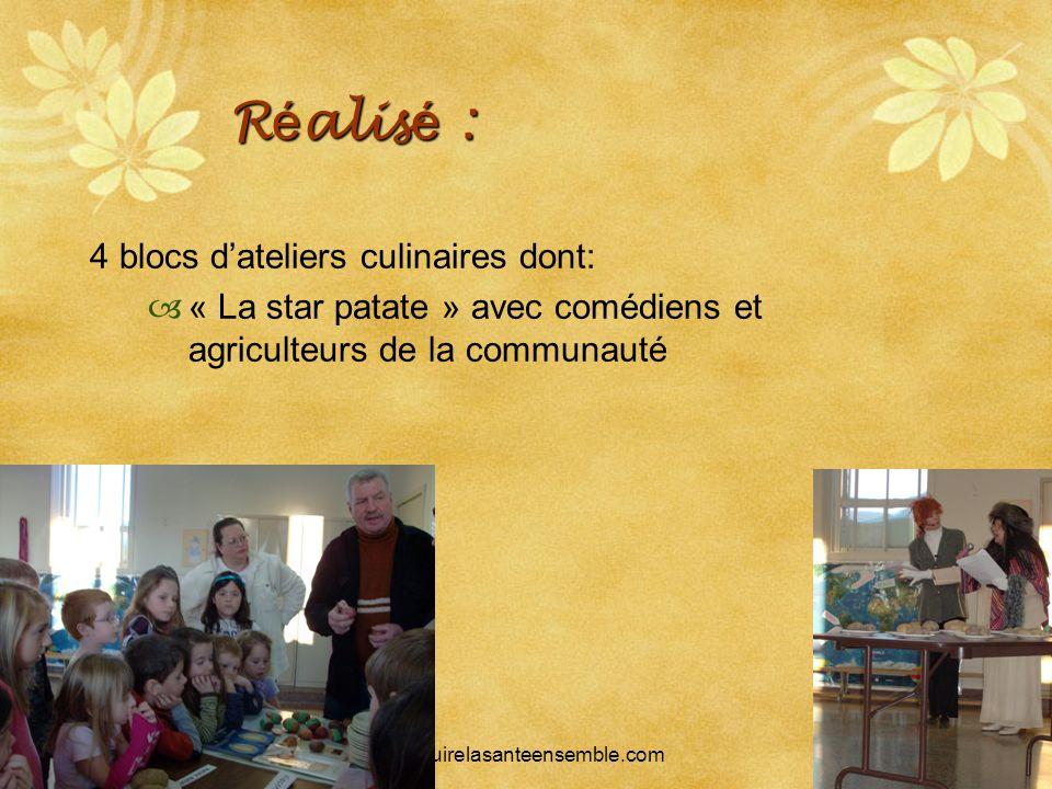 SRQ 05/09produirelasanteensemble.com18 R é alis é : 4 blocs dateliers culinaires dont: « La star patate » avec comédiens et agriculteurs de la communa