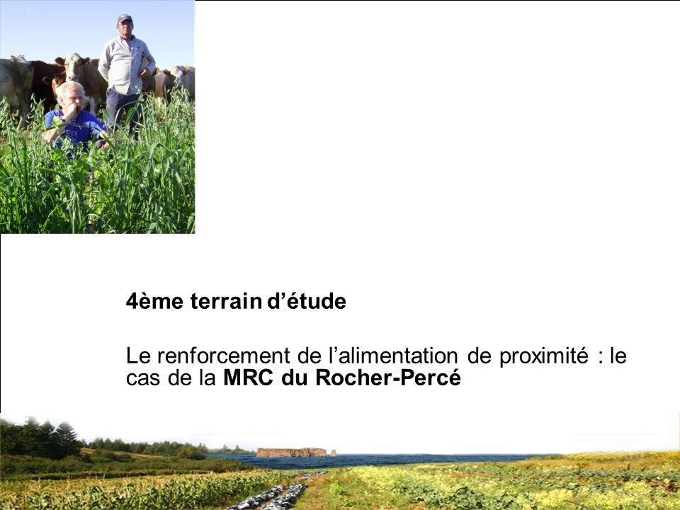 SRQ 05/09produirelasanteensemble.com24 4ème terrain détude Le renforcement de lalimentation de proximité : le cas de la MRC du Rocher-Percé