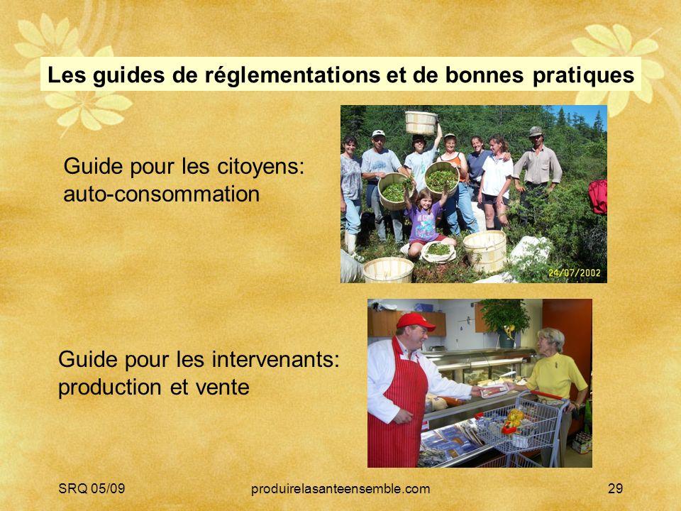 SRQ 05/09produirelasanteensemble.com29 Guide pour les citoyens: auto-consommation Les guides de réglementations et de bonnes pratiques Guide pour les intervenants: production et vente
