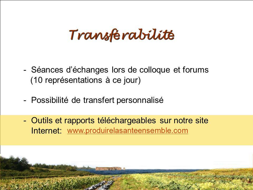 SRQ 05/09produirelasanteensemble.com31 www.produirelasanteensemble.com Transf é rabilit é -Séances déchanges lors de colloque et forums (10 représentations à ce jour) -Possibilité de transfert personnalisé -Outils et rapports téléchargeables sur notre site Internet: