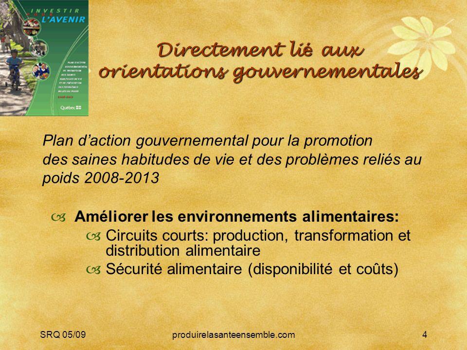 SRQ 05/09produirelasanteensemble.com4 Directement li é aux orientations gouvernementales Améliorer les environnements alimentaires: Circuits courts: p