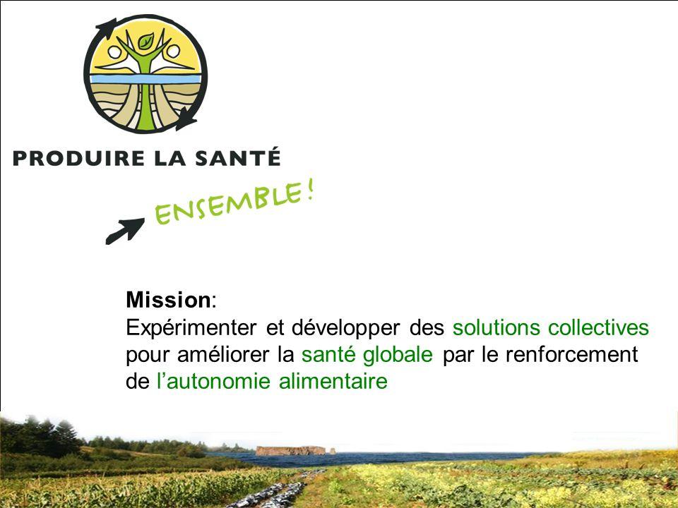 SRQ 05/09produirelasanteensemble.com6 Mission: Expérimenter et développer des solutions collectives pour améliorer la santé globale par le renforcement de lautonomie alimentaire