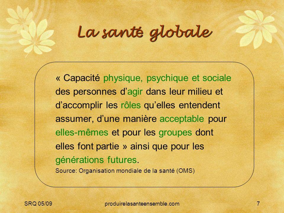 SRQ 05/09produirelasanteensemble.com7 La sant é globale « Capacité physique, psychique et sociale des personnes dagir dans leur milieu et daccomplir les rôles quelles entendent assumer, dune manière acceptable pour elles-mêmes et pour les groupes dont elles font partie » ainsi que pour les générations futures.