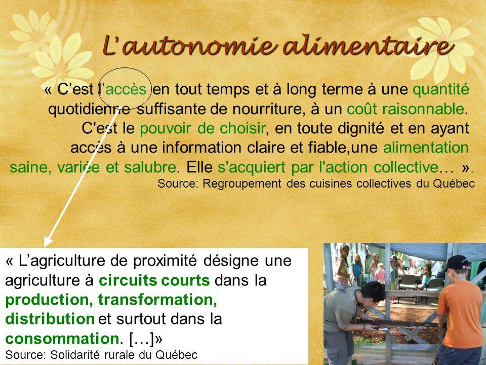 SRQ 05/09produirelasanteensemble.com8 L autonomie alimentaire « Cest laccès en tout temps et à long terme à une quantité quotidienne suffisante de nourriture, à un coût raisonnable.