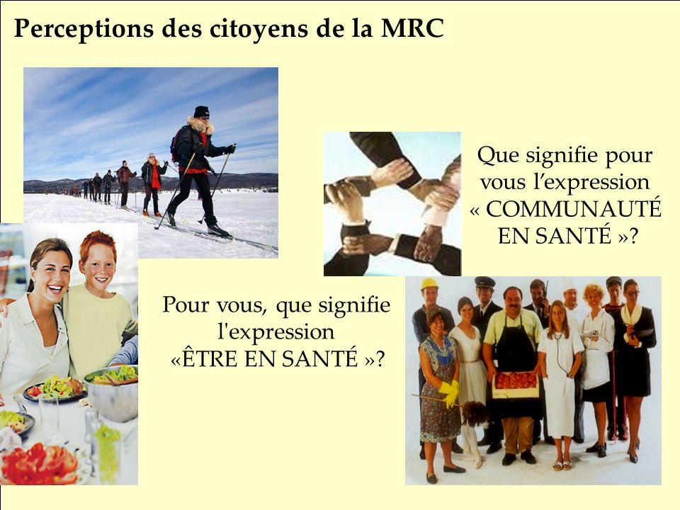 SRQ 05/09produirelasanteensemble.com9 Perceptions des citoyens de la MRC Que signifie pour vous lexpression « COMMUNAUTÉ EN SANTÉ ».