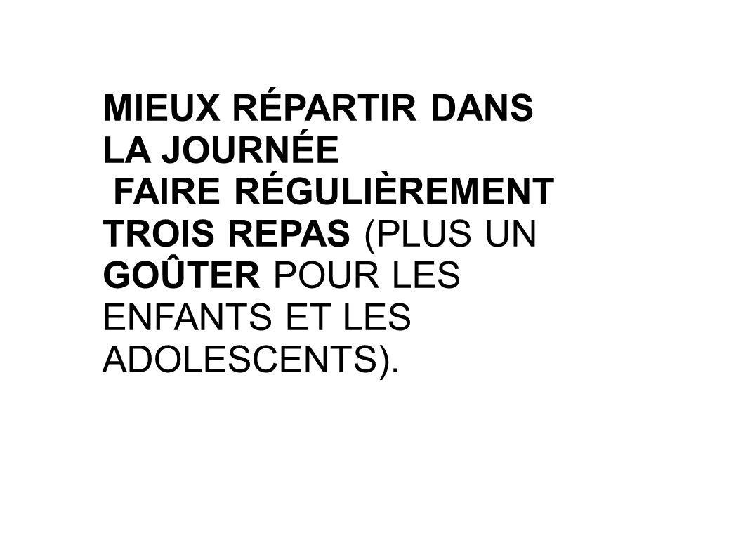 MIEUX RÉPARTIR DANS LA JOURNÉE FAIRE RÉGULIÈREMENT TROIS REPAS (PLUS UN GOÛTER POUR LES ENFANTS ET LES ADOLESCENTS).