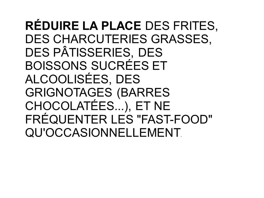 RÉDUIRE LA PLACE DES FRITES, DES CHARCUTERIES GRASSES, DES PÂTISSERIES, DES BOISSONS SUCRÉES ET ALCOOLISÉES, DES GRIGNOTAGES (BARRES CHOCOLATÉES...),