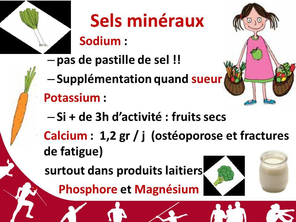 Sels minéraux Sodium : – pas de pastille de sel !! – Supplémentation quand sueur Potassium : – Si + de 3h dactivité : fruits secs Calcium : 1,2 gr / j