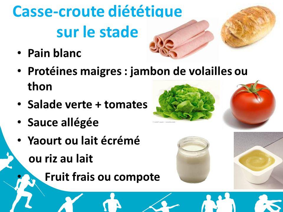 Casse-croute diététique sur le stade Pain blanc Protéines maigres : jambon de volailles ou thon Salade verte + tomates Sauce allégée Yaourt ou lait éc