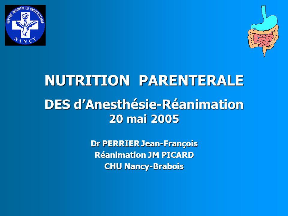 NUTRITION PARENTERALE INTERET DES MELANGES TERNAIRES Apporter simultanément de façon équilibrée les 3 nutriments Efficacité nutritionnelle prouvée HYLTANDER, 93, 95 Conf.