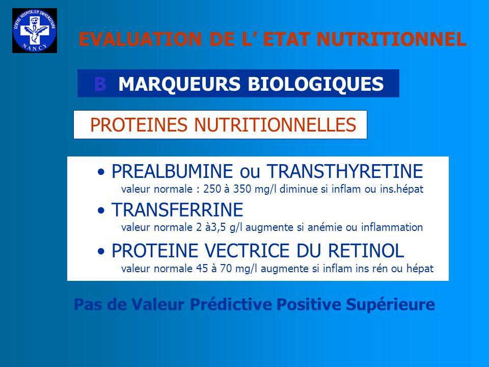 EVALUATION DE L ETAT NUTRITIONNEL B MARQUEURS BIOLOGIQUES PROTEINES NUTRITIONNELLES SELTZER; 1979 REINHARD; 1980 KAMINSKI; 1977 YOUNG; 1978 ALBUMINE A