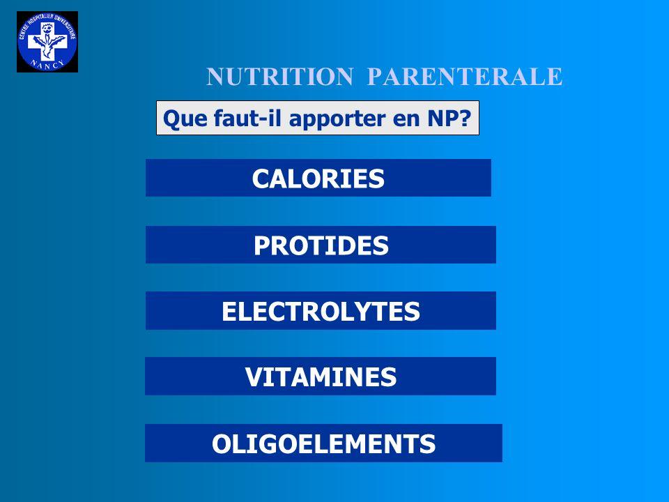 NUTRITION PARENTERALE I POURQUOI UNE NP ? II POUR QUI UNE NP ? III QUE FAUT-IL APPORTER EN NP ? IV COMMENT APPORTER LA NP ?