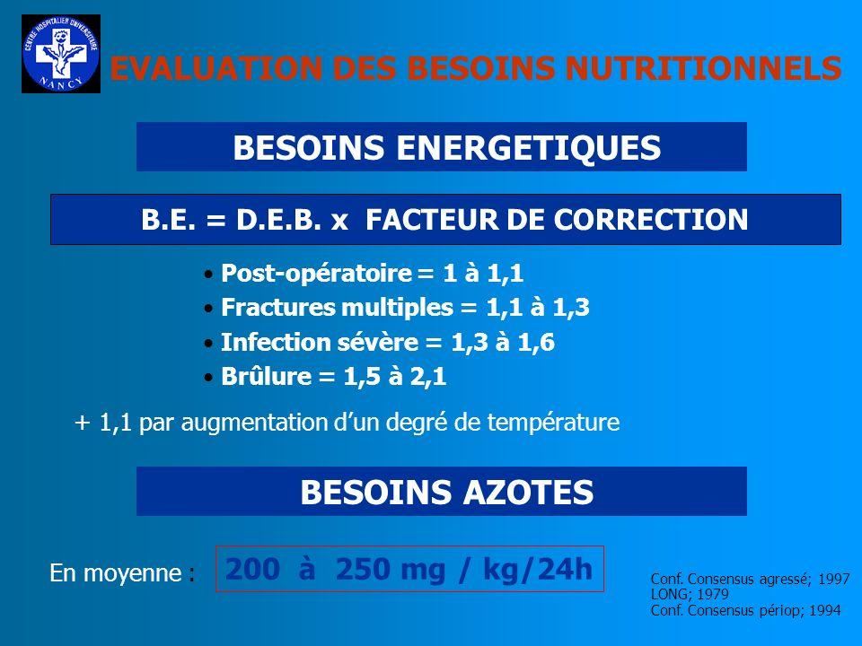 EVALUATION DES BESOINS NUTRITIONNELS DEPENSE ENERGETIQUE DE BASE MESUREE CALORIMETRIE INDIRECTE CALCULEE EQUATIONS DE HARRIS ET BENEDICT ROZA; 1984 NI