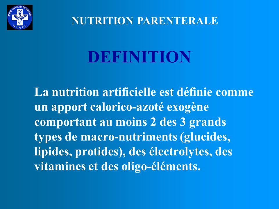 A DEFINITIONS - INDICATIONS B LES SUBSTRATS C LES PROTOCOLES NUTRITIONNELS NUTRITION PARENTERALE