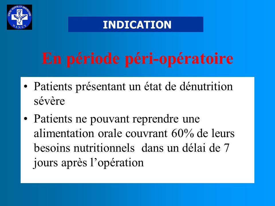 INDICATION Quand la voie orale ou entérale est : INSUFFISANTE ou INEFFICACE ex : Grêle court, cancer, agression, grêle radique, période péri-opératoir