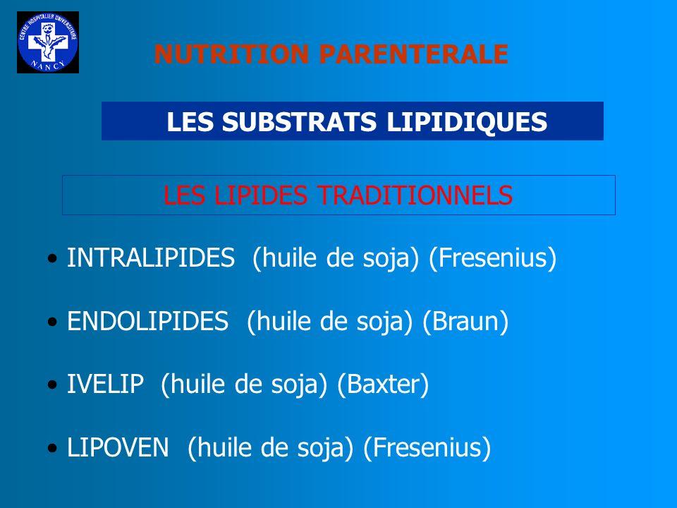 NUTRITION PARENTERALE LIPIDES Apport énergétique élevé : 9 kcal/g En NP : Emulsions lipidiques injectables Type dhuile : - Huile soja - Huile de soja