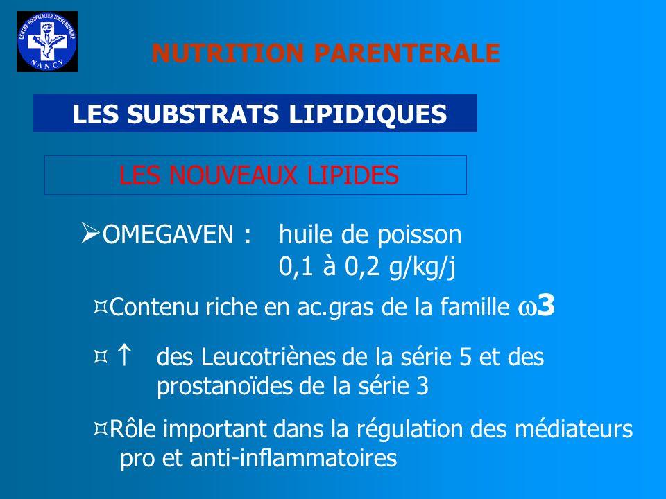 NUTRITION PARENTERALE LES SUBSTRATS LIPIDIQUES LES NOUVEAUX LIPIDES STRUCTOLIPIDE : 50 % huile de soja + 50 % TCM Intérêt particulier chez le patient