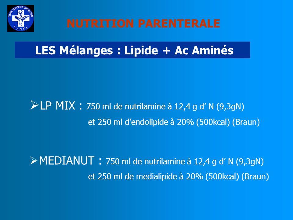 NUTRITION PARENTERALE LES Mélanges : Glucose + Ac Aminés AMINOMIX : 2 formules en 1l, 1,5l et 2l (Fresenius) CLINIMIX : 3 formules en 1l, 1,5 et 2l +/
