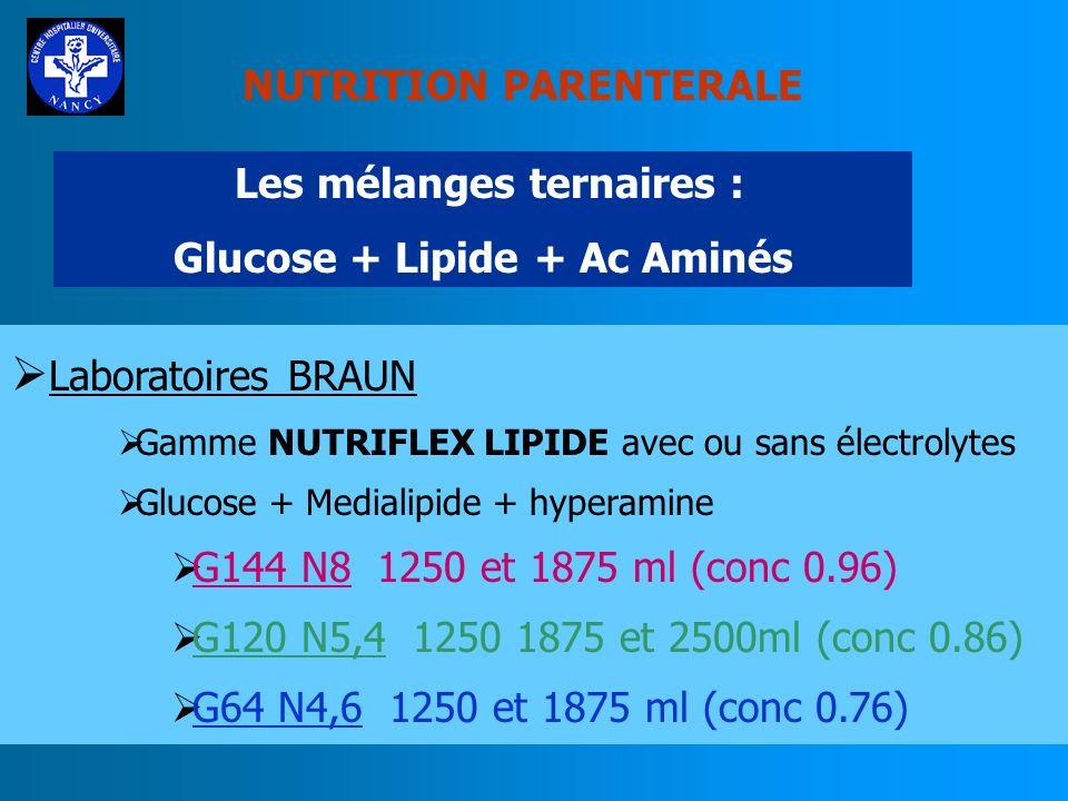 NUTRITION PARENTERALE LES Mélanges : Lipide + Ac Aminés LP MIX : 750 ml de nutrilamine à 12,4 g d N (9,3gN) et 250 ml dendolipide à 20% (500kcal) (Bra