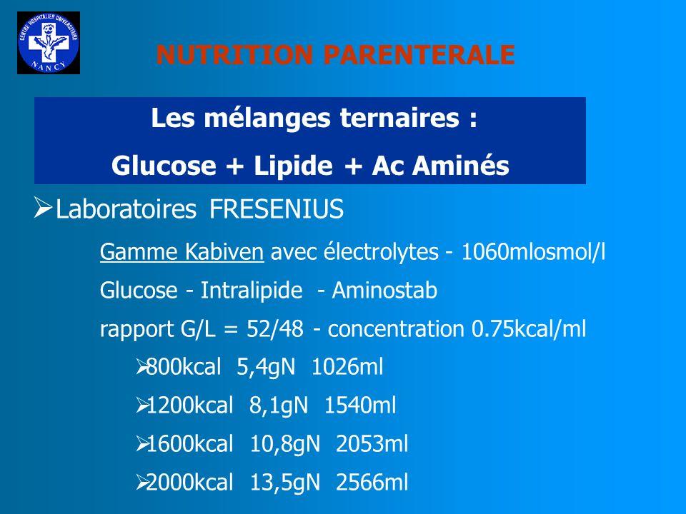 NUTRITION PARENTERALE Les mélanges ternaires : Glucose + Lipide + Ac Aminés Laboratoires BRAUN Gamme NUTRIFLEX LIPIDE avec ou sans électrolytes Glucos