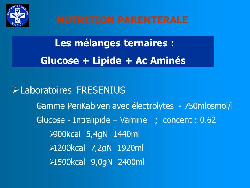 NUTRITION PARENTERALE Les mélanges ternaires : Glucose + Lipide + Ac Aminés Laboratoires FRESENIUS Gamme Kabiven avec électrolytes - 1060mlosmol/l Glu