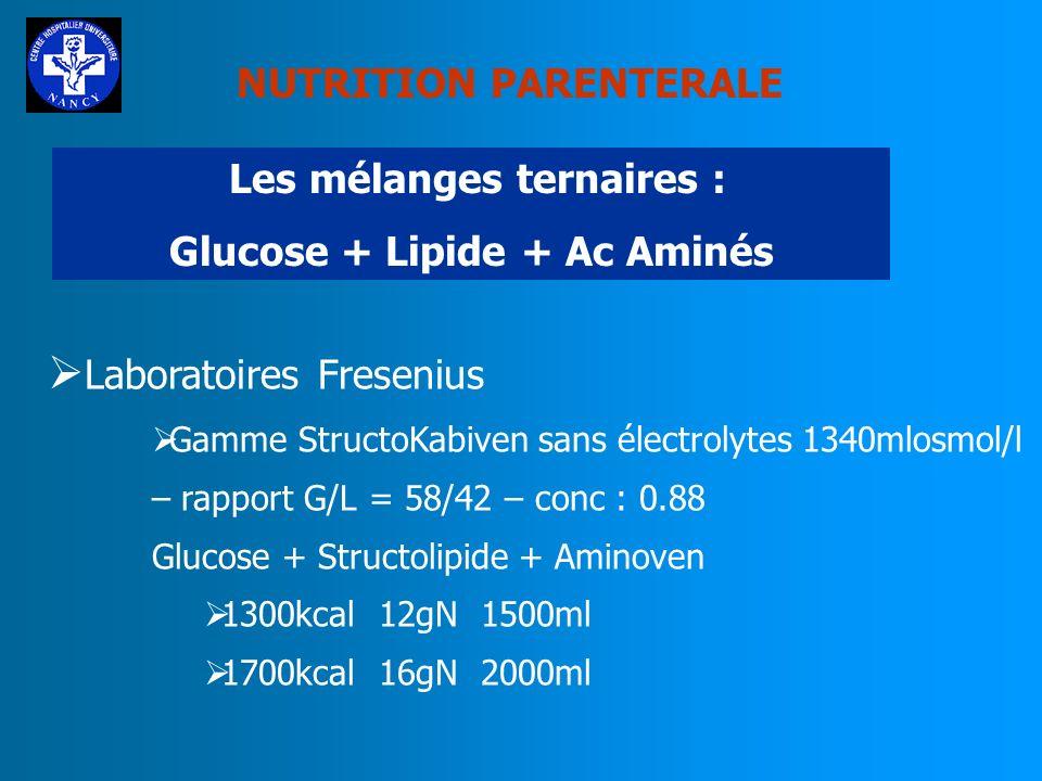 NUTRITION PARENTERALE Les mélanges ternaires : Glucose + Lipide + Ac Aminés Laboratoires FRESENIUS Gamme PeriKabiven avec électrolytes - 750mlosmol/l