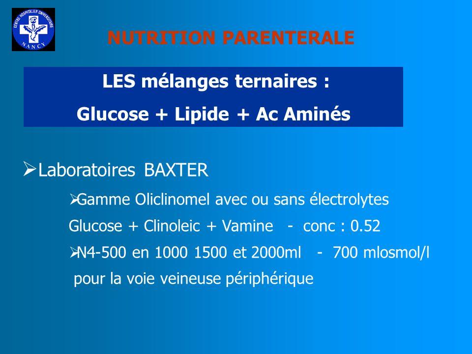 NUTRITION PARENTERALE Les mélanges ternaires : Glucose + Lipide + Ac Aminés Laboratoires Fresenius Gamme StructoKabiven sans électrolytes 1340mlosmol/