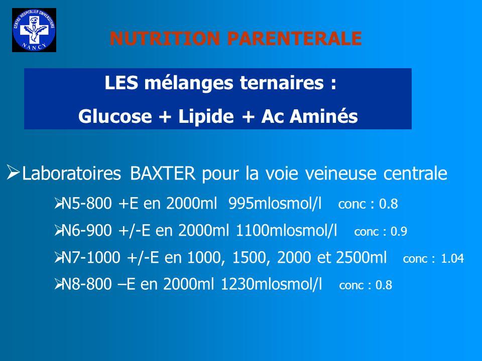 NUTRITION PARENTERALE LES mélanges ternaires : Glucose + Lipide + Ac Aminés Laboratoires BAXTER Gamme Oliclinomel avec ou sans électrolytes Glucose +