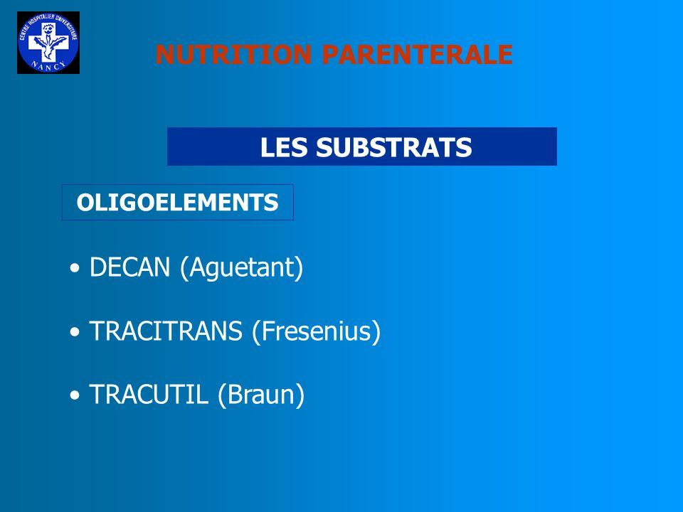 NUTRITION PARENTERALE LES SUBSTRATS CERNEVIT (Baxter) Vitamines hydrosolubles: B1,B2,B5,B6,B12,C,PP Biotine, Ac Folique Vitamines liposolubles A,D3,E