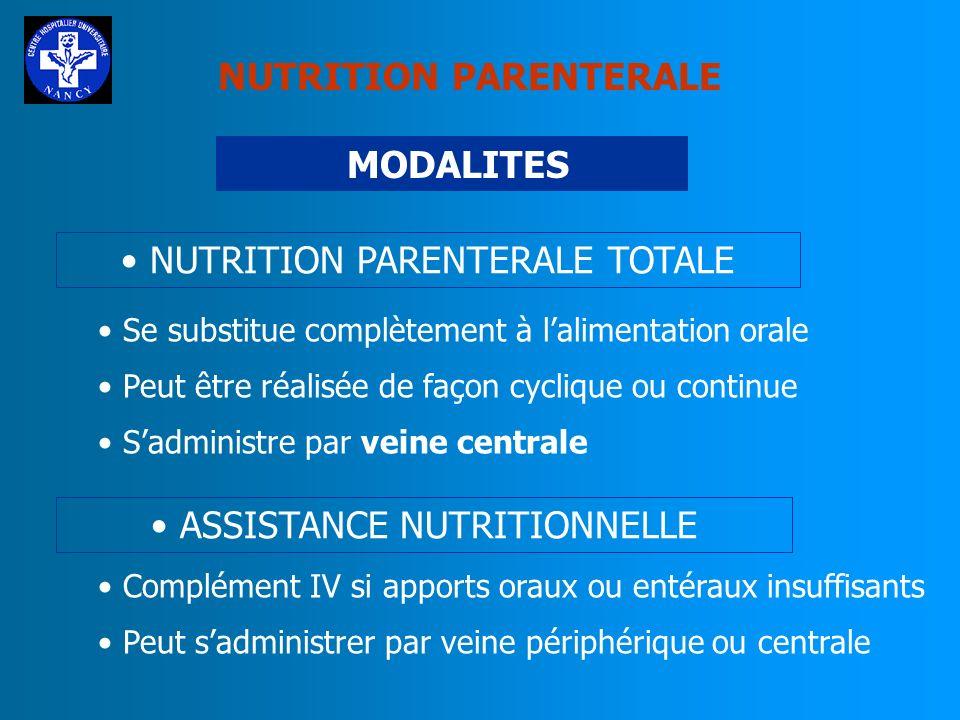 MODALITES NUTRITION PARENTERALE TOTALE Se substitue complètement à lalimentation orale Peut être réalisée de façon cyclique ou continue Sadministre pa