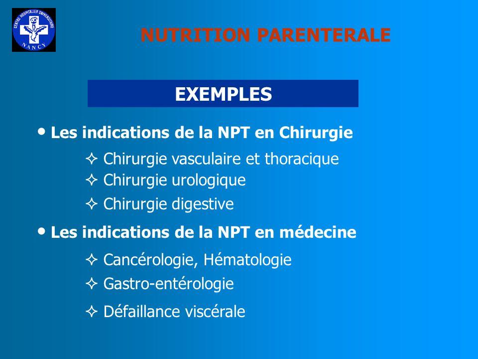 NUTRITION PARENTERALE SURVEILLANCE Surveillance biologique : Ionogramme quotidien, osmolarité Urée, créatininémie Bilan urinaire Phosphatase alcalines