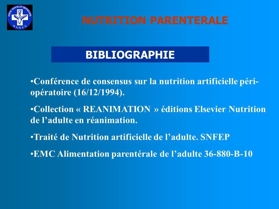 NUTRITION PARENTERALE CONCLUSION La dénutrition à lhôpital : Fréquente Co-facteur de morbidité Constitue un surcoût La prise en charge nutritionnelle