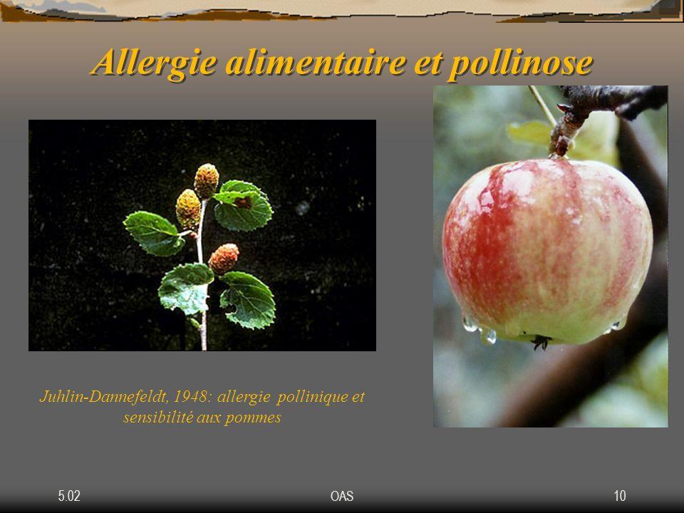 5.02OAS10 Allergie alimentaire et pollinose Juhlin-Dannefeldt, 1948: allergie pollinique et sensibilité aux pommes
