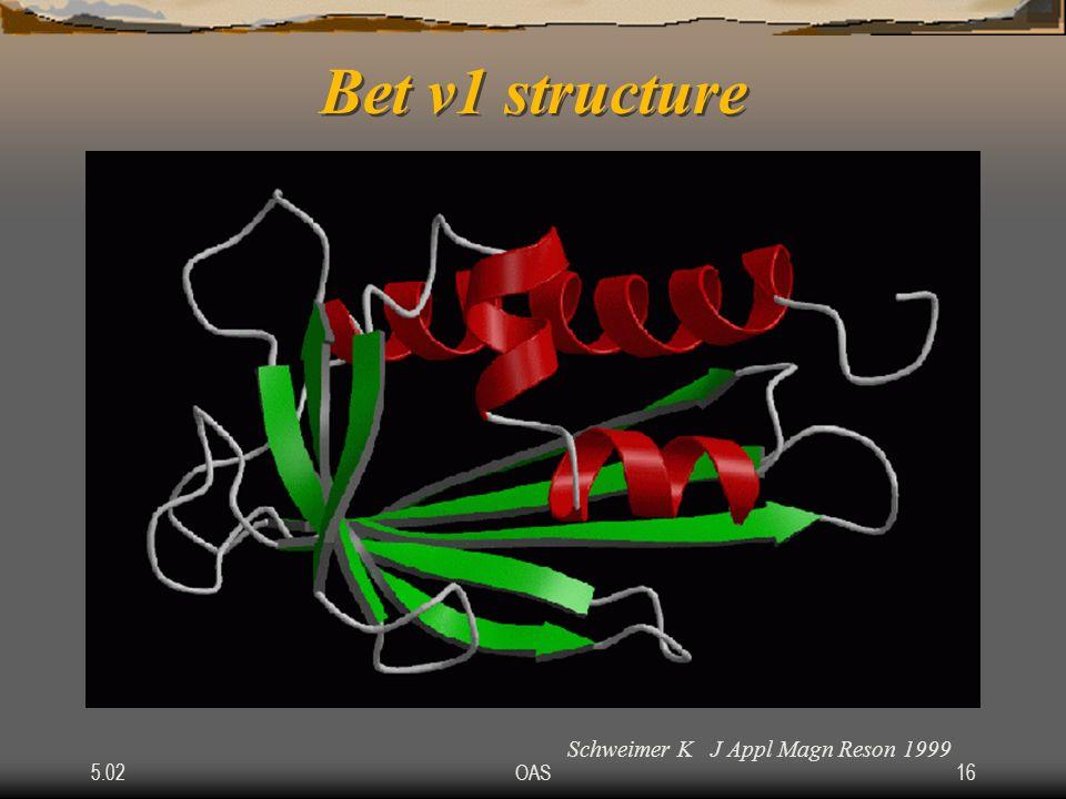 5.02OAS16 Bet v1 structure Schweimer K J Appl Magn Reson 1999