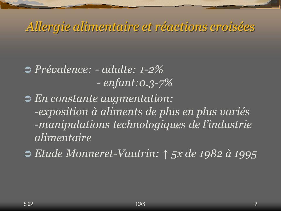 5.02OAS2 Allergie alimentaire et réactions croisées Prévalence: - adulte: 1-2% - enfant:0.3-7% En constante augmentation: -exposition à aliments de pl