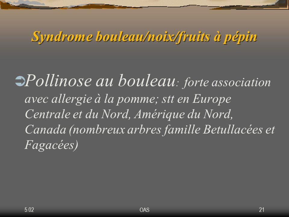 5.02OAS21 Syndrome bouleau/noix/fruits à pépin Pollinose au bouleau : forte association avec allergie à la pomme; stt en Europe Centrale et du Nord, A