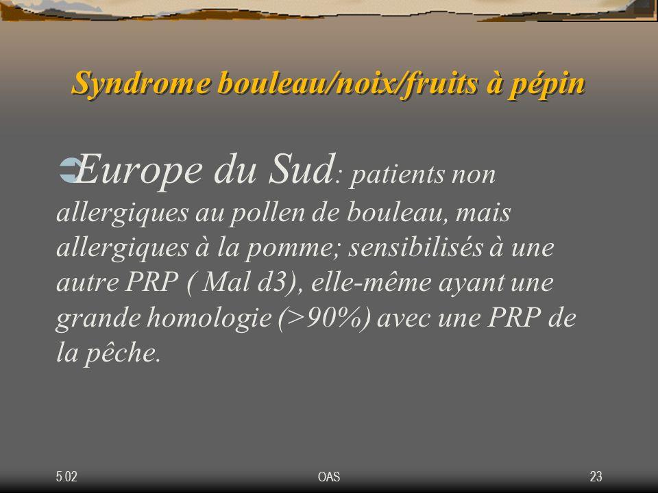 5.02OAS23 Syndrome bouleau/noix/fruits à pépin Europe du Sud : patients non allergiques au pollen de bouleau, mais allergiques à la pomme; sensibilisé