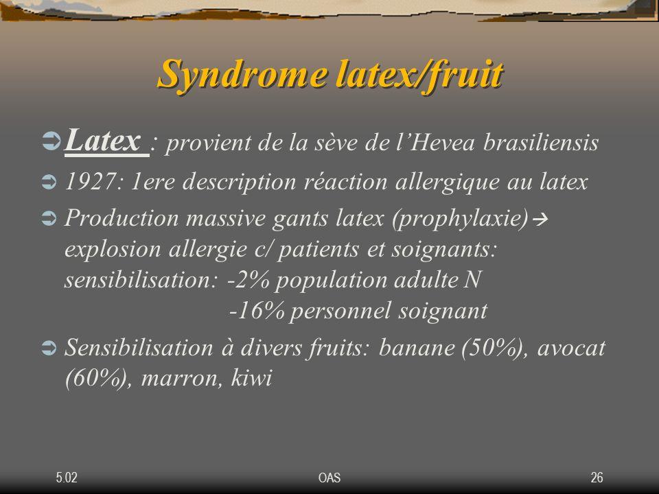 5.02OAS26 Syndrome latex/fruit Latex : provient de la sève de lHevea brasiliensis 1927: 1ere description réaction allergique au latex Production massi