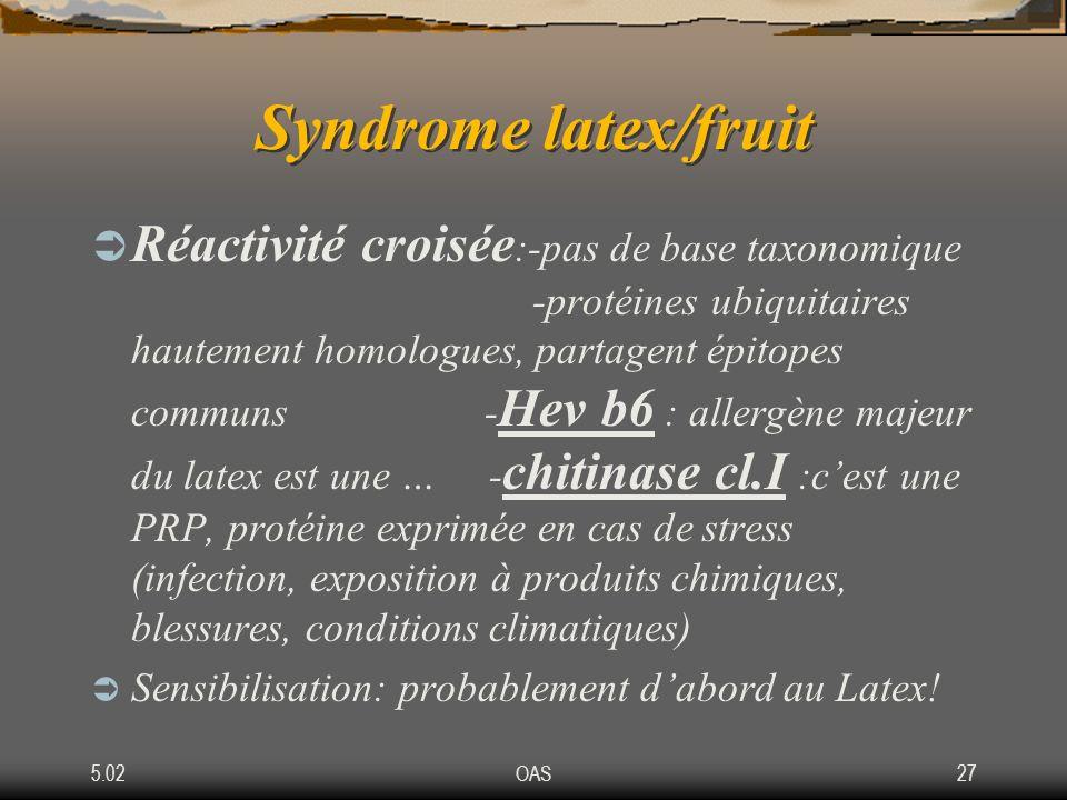 5.02OAS27 Syndrome latex/fruit Réactivité croisée :-pas de base taxonomique -protéines ubiquitaires hautement homologues, partagent épitopes communs -