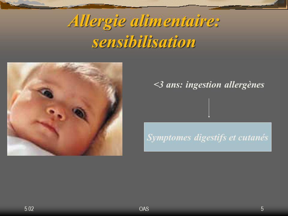 5.02OAS5 Allergie alimentaire: sensibilisation <3 ans: ingestion allergènes Symptomes digestifs et cutanés