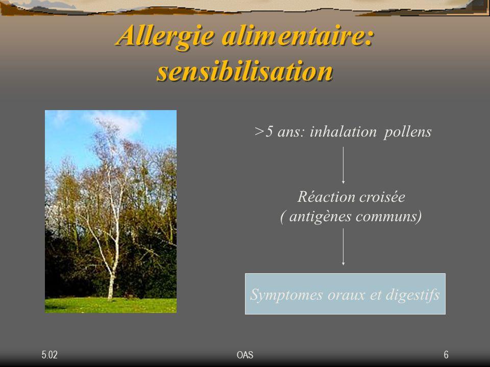 5.02OAS6 Allergie alimentaire: sensibilisation >5 ans: inhalation pollens Réaction croisée ( antigènes communs) Symptomes oraux et digestifs
