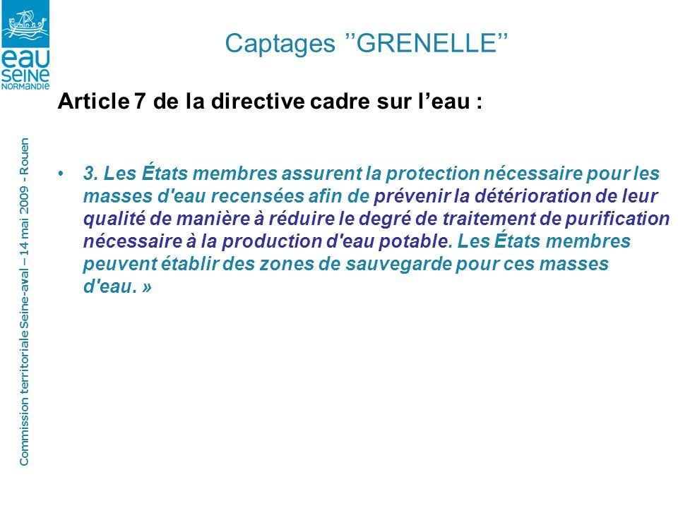 Commission territoriale Seine-aval – 14 mai 2009 - Rouen Captages GRENELLE Article 7 de la directive cadre sur leau : 3.