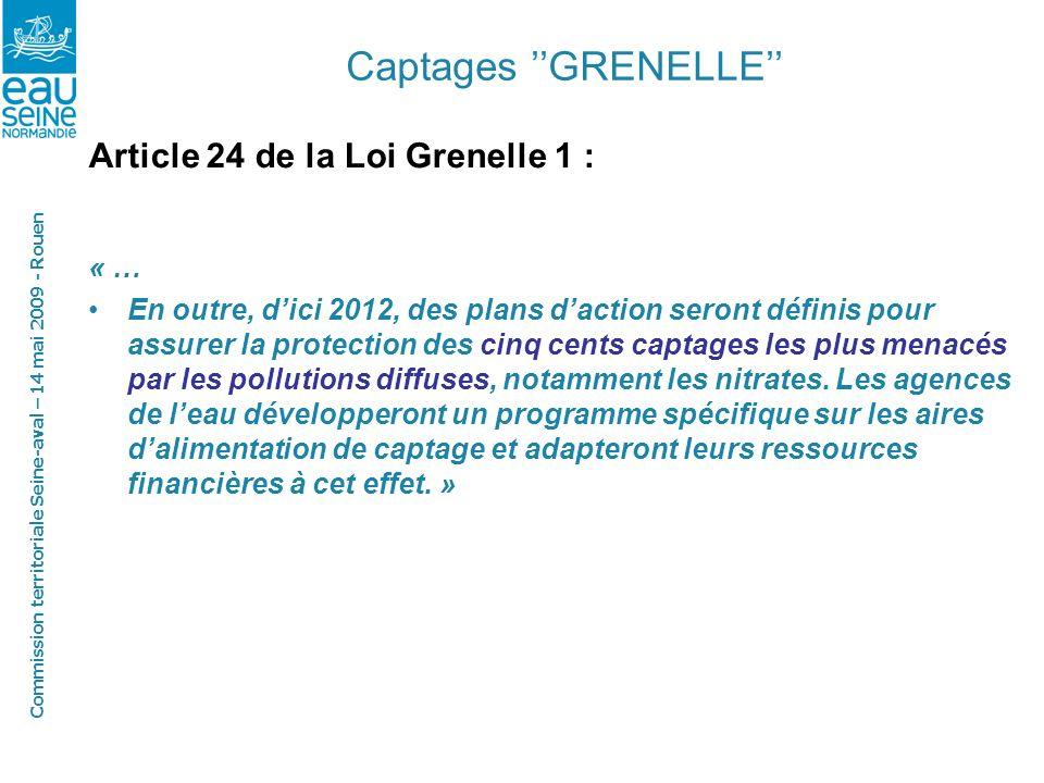 Commission territoriale Seine-aval – 14 mai 2009 - Rouen Captages GRENELLE Article 24 de la Loi Grenelle 1 : « … En outre, dici 2012, des plans daction seront définis pour assurer la protection des cinq cents captages les plus menacés par les pollutions diffuses, notamment les nitrates.