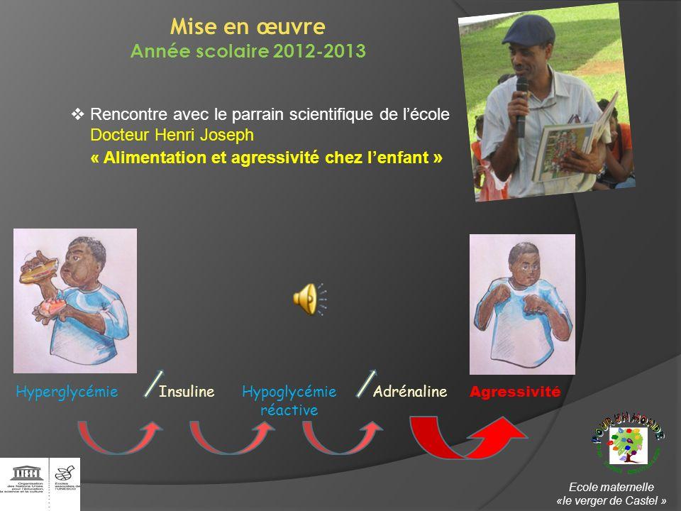 Rencontre avec le parrain scientifique de lécole Docteur Henri Joseph « Alimentation et agressivité chez lenfant » Mise en œuvre Année scolaire 2012-2