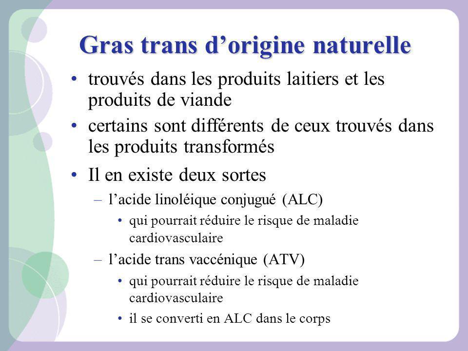Gras trans dorigine naturelle trouvés dans les produits laitiers et les produits de viande certains sont différents de ceux trouvés dans les produits