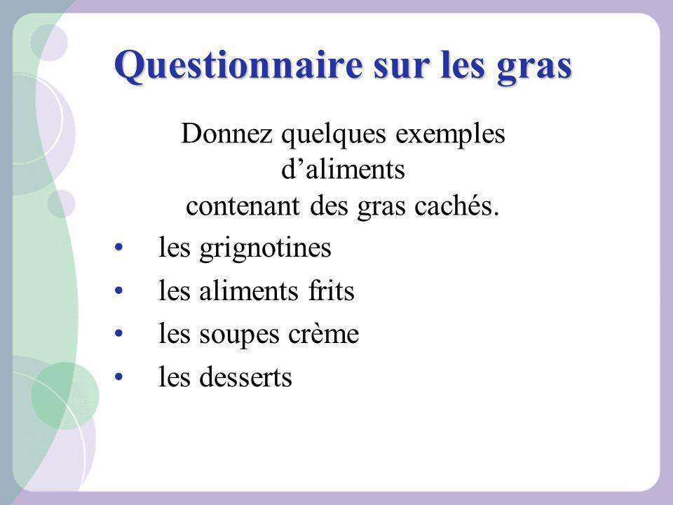 Questionnaire sur les gras les grignotines les aliments frits les soupes crème les desserts Donnez quelques exemples daliments contenant des gras cach