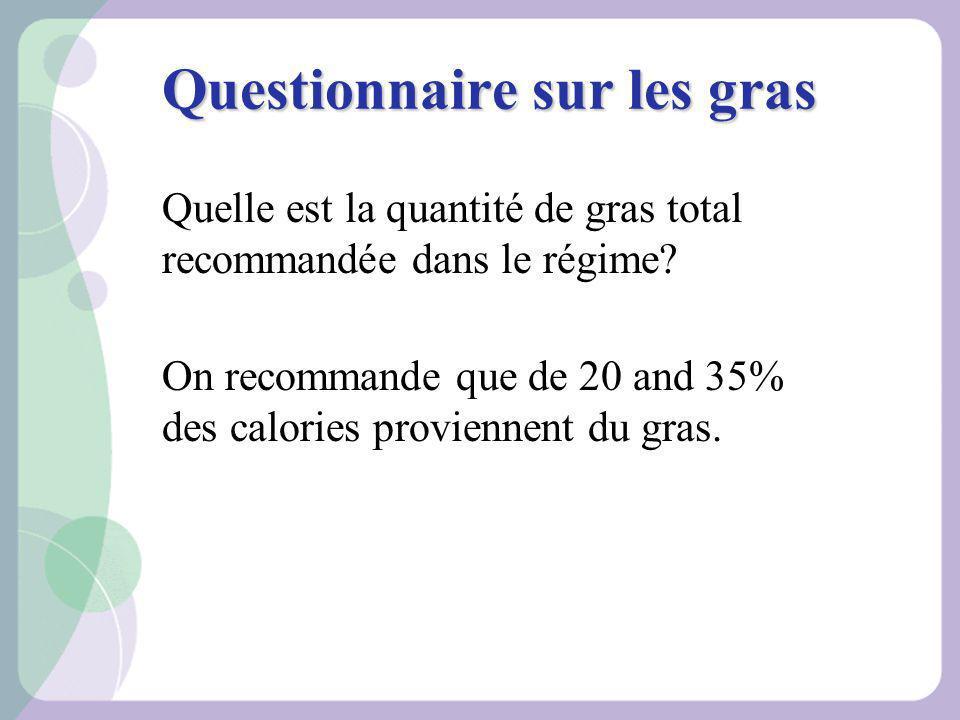 Questionnaire sur les gras Quelle est la quantité de gras total recommandée dans le régime? On recommande que de 20 and 35% des calories proviennent d