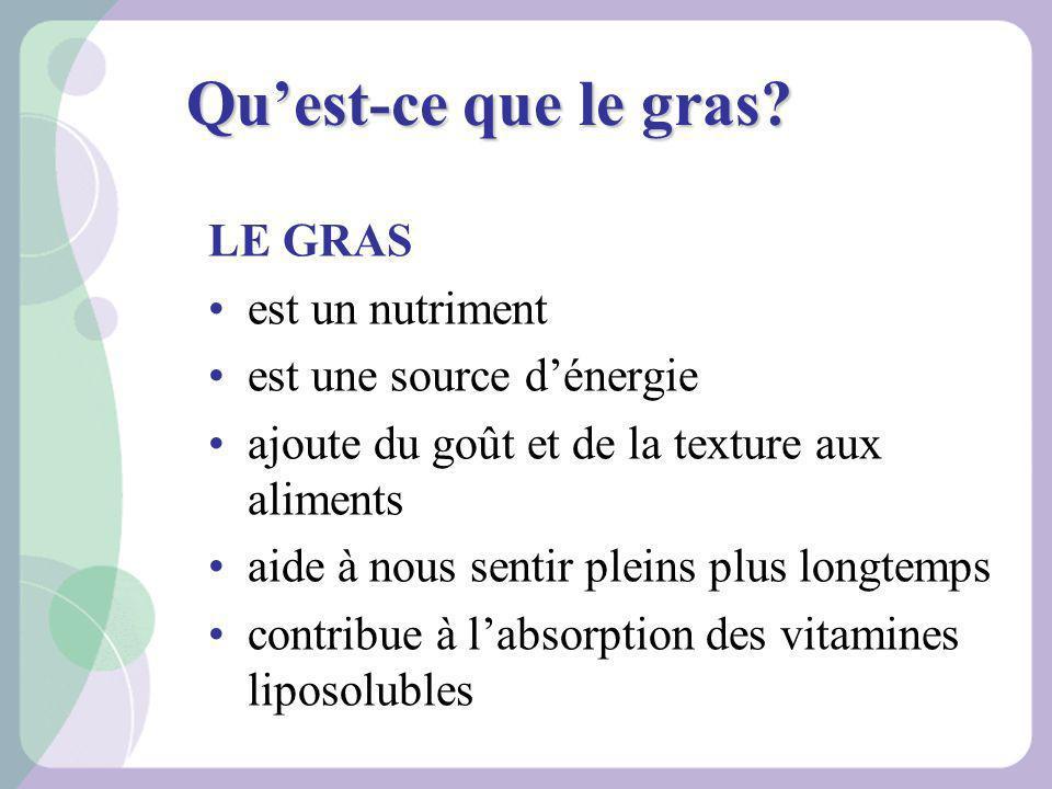 Quest-ce que le gras? LE GRAS est un nutriment est une source dénergie ajoute du goût et de la texture aux aliments aide à nous sentir pleins plus lon
