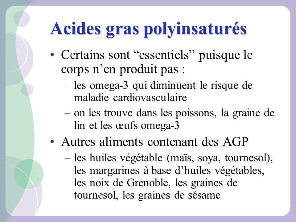 Acides gras polyinsaturés Certains sont essentiels puisque le corps nen produit pas : –les omega-3 qui diminuent le risque de maladie cardiovasculaire