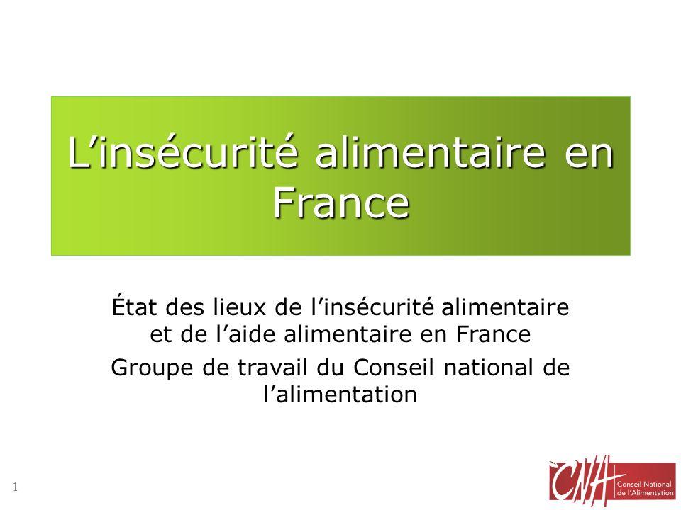 Linsécurité alimentaire en France État des lieux de linsécurité alimentaire et de laide alimentaire en France Groupe de travail du Conseil national de